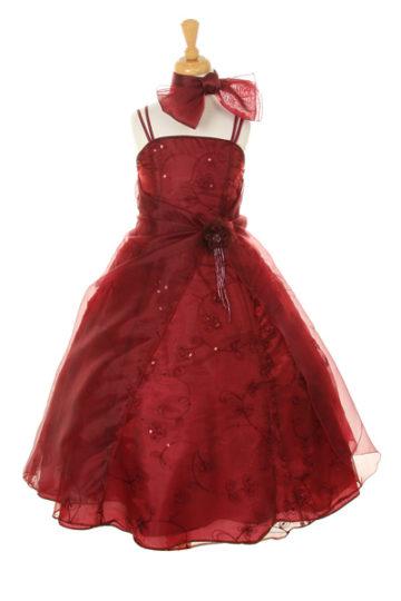 tyttöjen pitkä juhlamekko burgundinpunainen