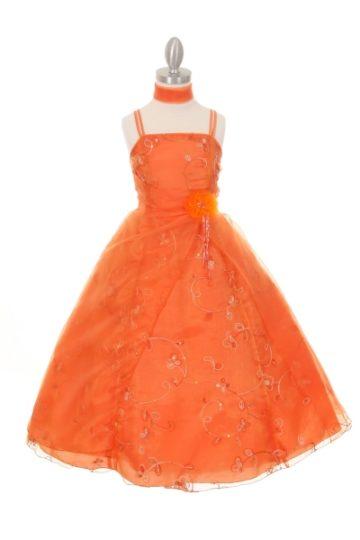 tyttöjen pitkä juhlamekko oranssi